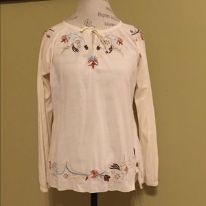 Prana embroidered long sleeve peasant top.